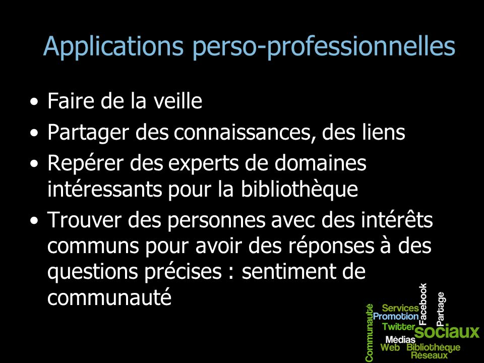 Applications perso-professionnelles