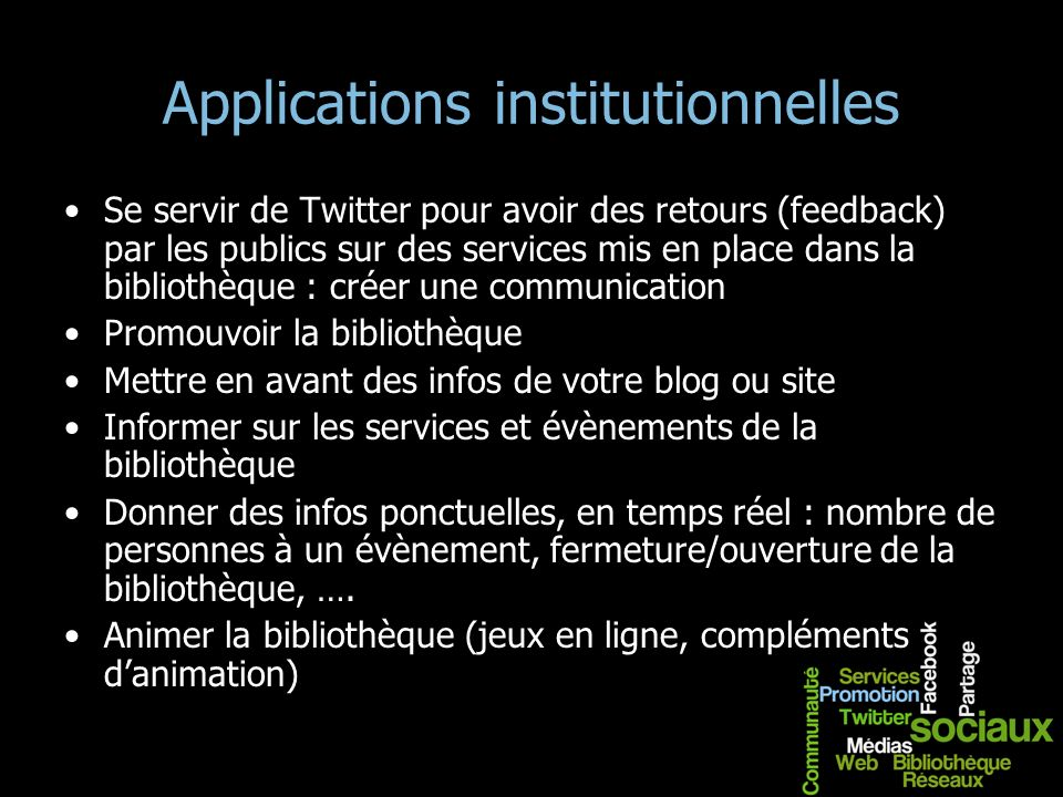 Applications institutionnelles