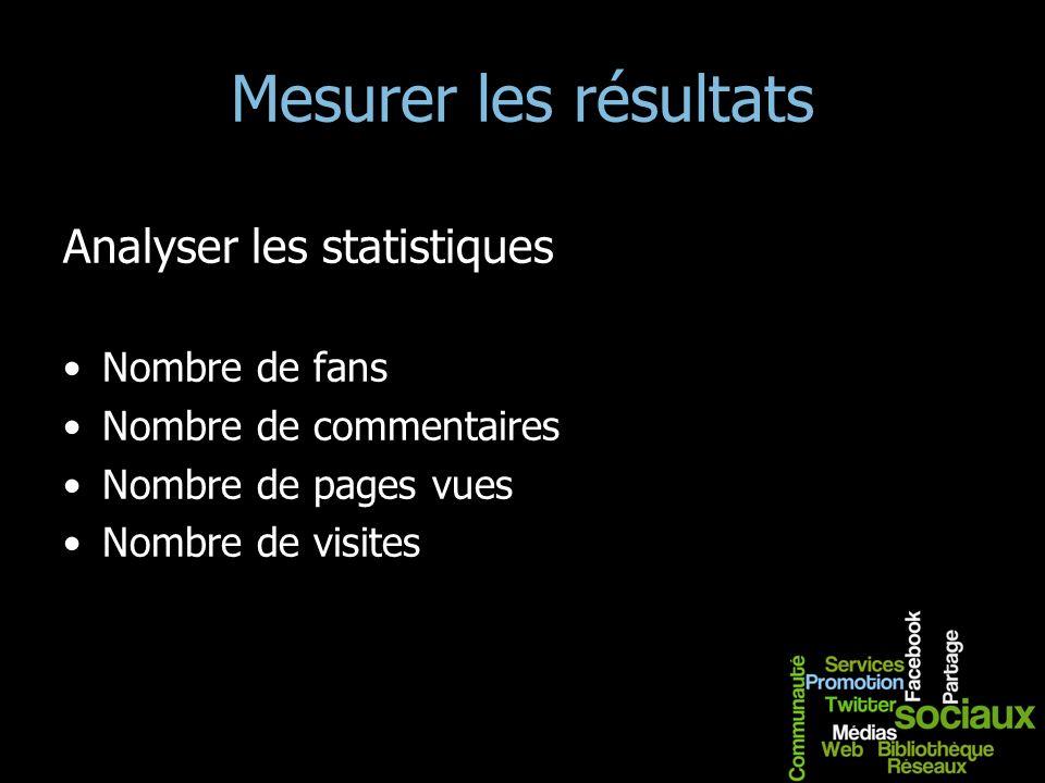 Mesurer les résultats Analyser les statistiques Nombre de fans