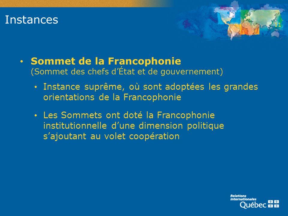 2 Instances. 11. Sommet de la Francophonie (Sommet des chefs d'État et de gouvernement)