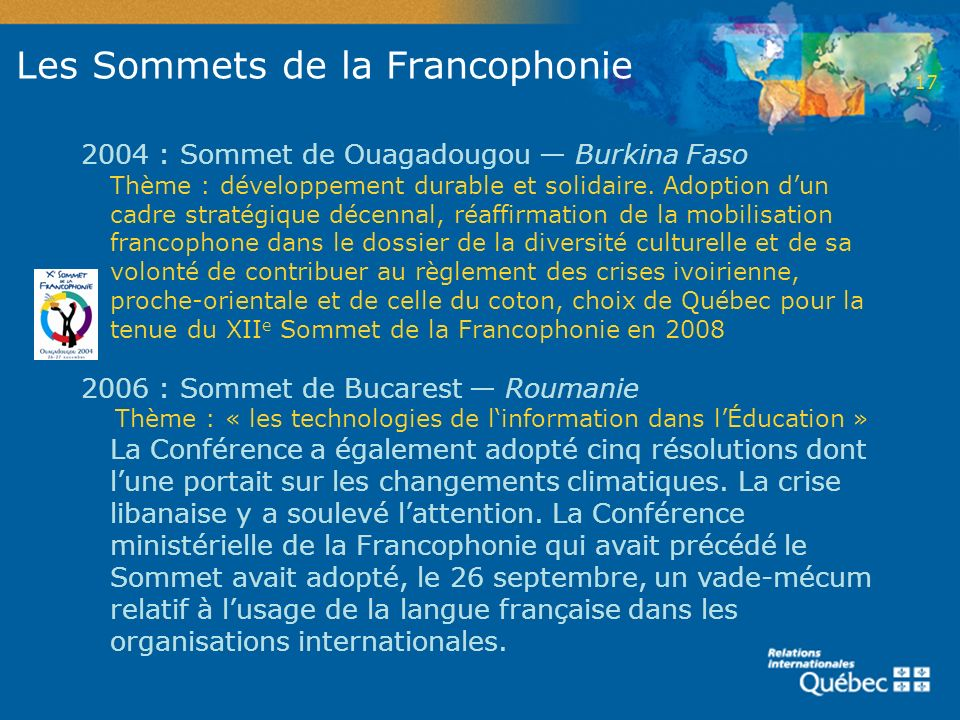 Les Sommets de la Francophonie