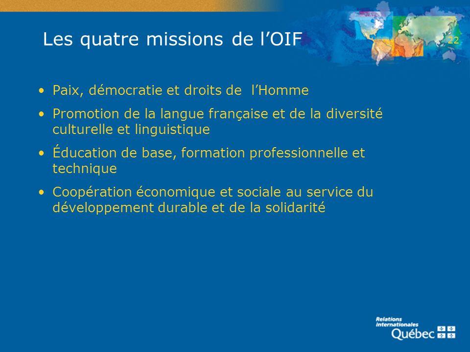 Les quatre missions de l'OIF