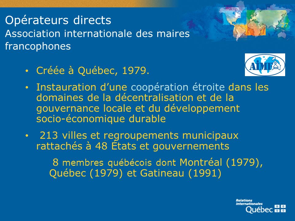 Opérateurs directs Association internationale des maires francophones