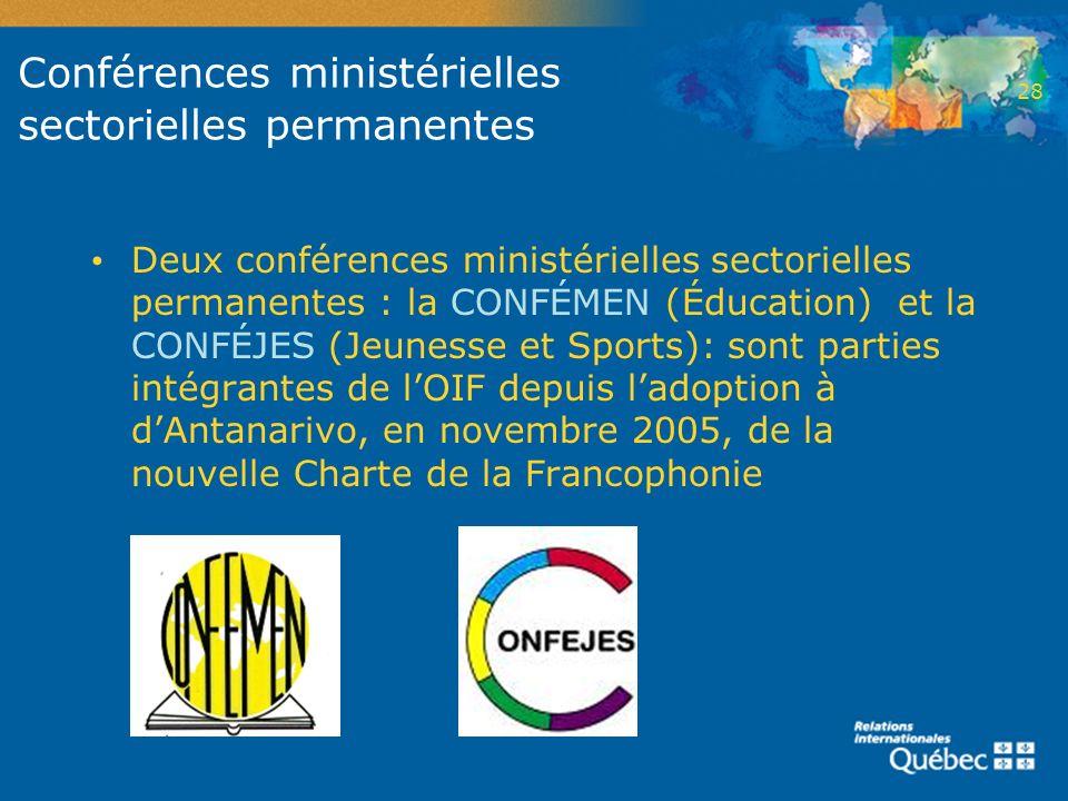 Conférences ministérielles sectorielles permanentes