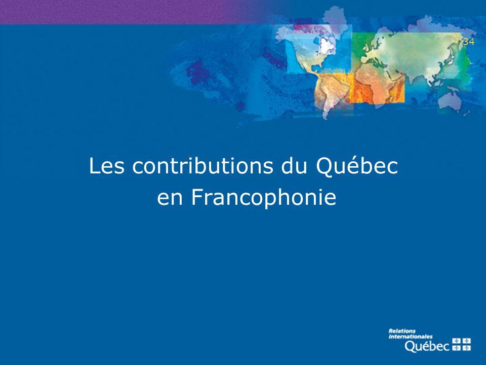 Les contributions du Québec en Francophonie