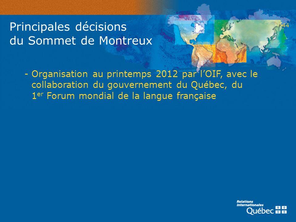Principales décisions du Sommet de Montreux
