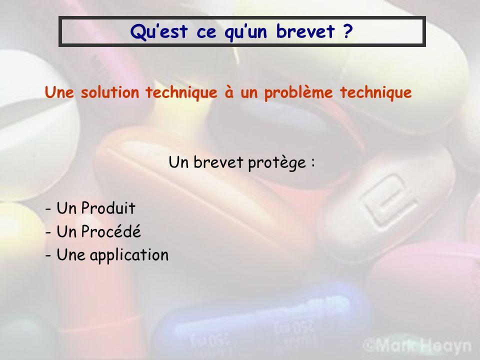 Qu'est ce qu'un brevet Une solution technique à un problème technique. Un brevet protège : - Un Produit.
