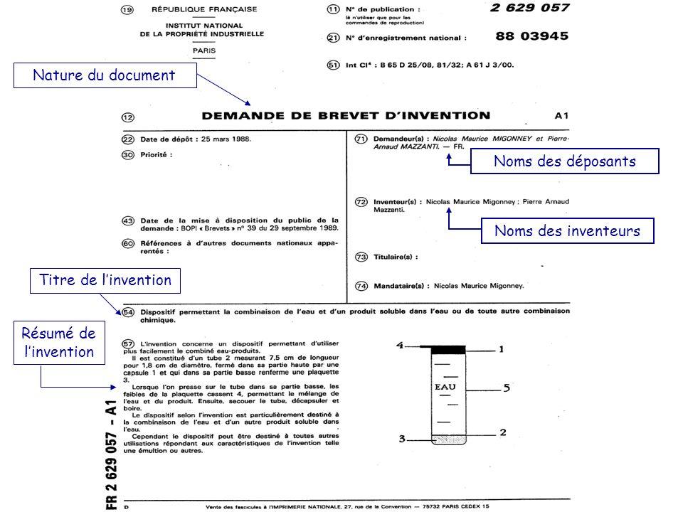 Nature du document Titre de l'invention. Résumé de l'invention.