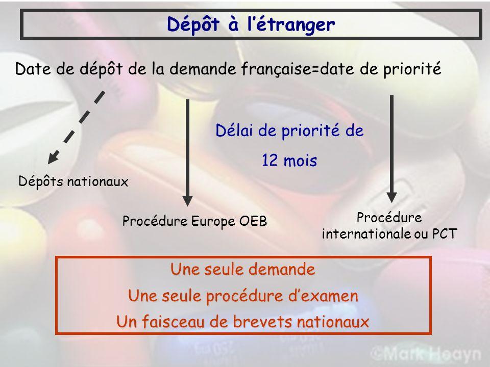 Dépôt à l'étranger Date de dépôt de la demande française=date de priorité. Dépôts nationaux. Procédure internationale ou PCT.