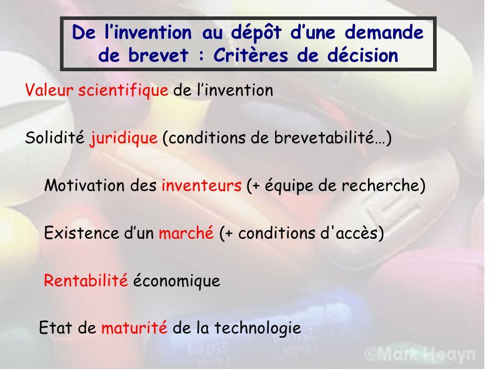 De l'invention au dépôt d'une demande de brevet : Critères de décision