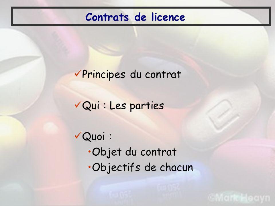 Contrats de licence Principes du contrat. Qui : Les parties.