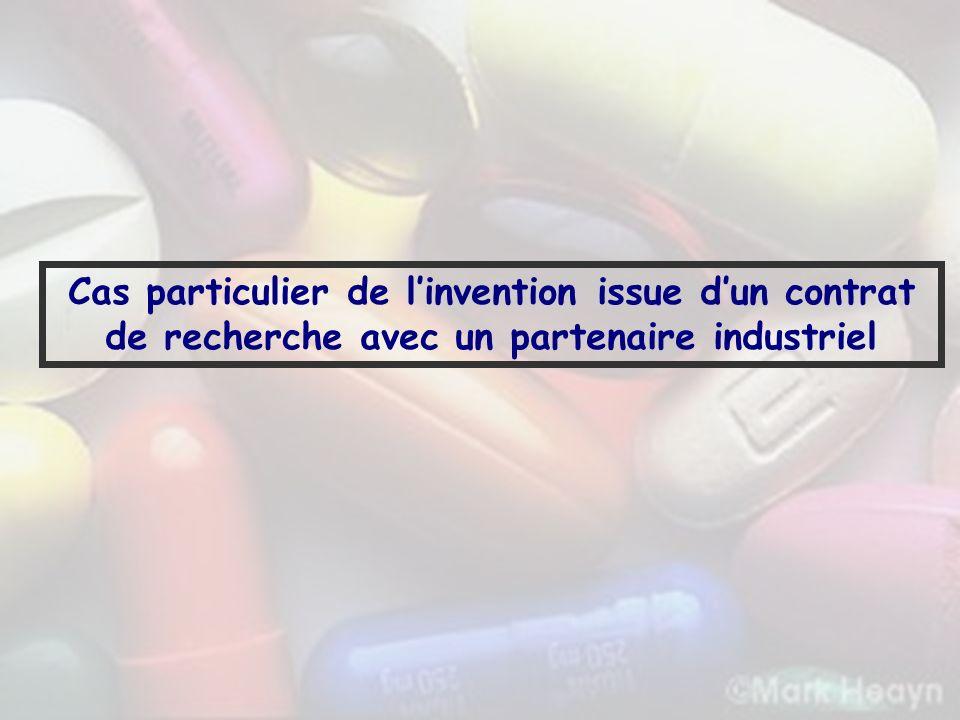Cas particulier de l'invention issue d'un contrat de recherche avec un partenaire industriel