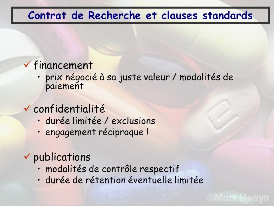 Contrat de Recherche et clauses standards