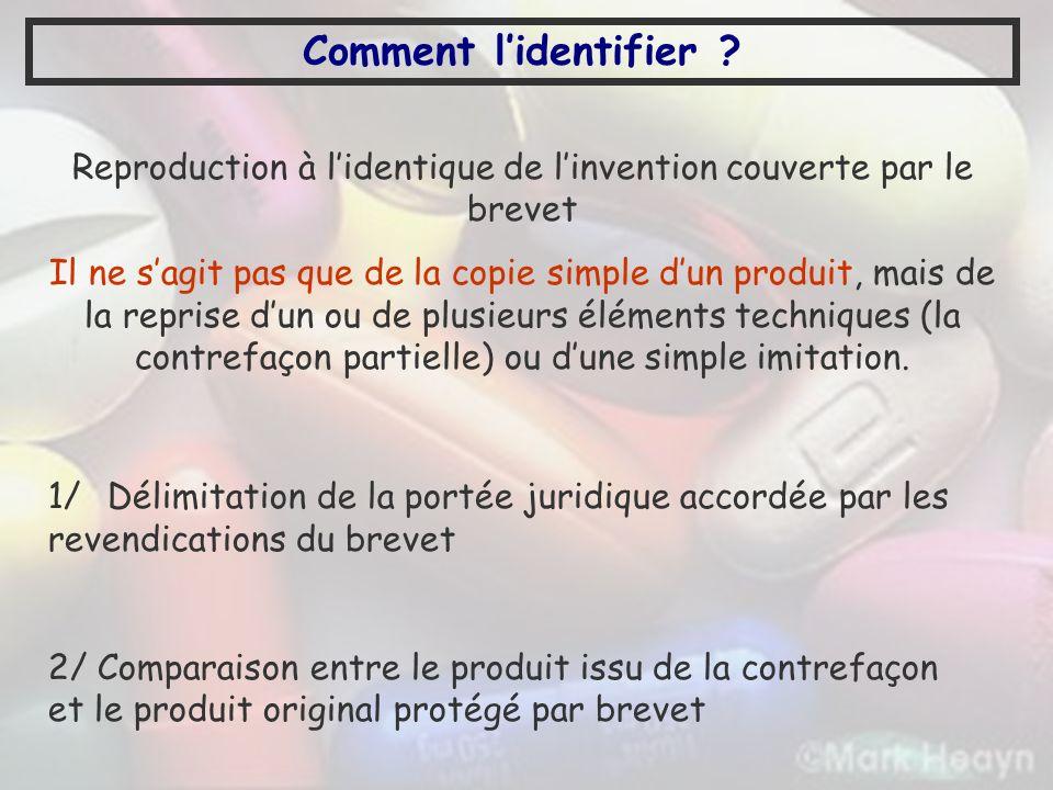 Reproduction à l'identique de l'invention couverte par le brevet