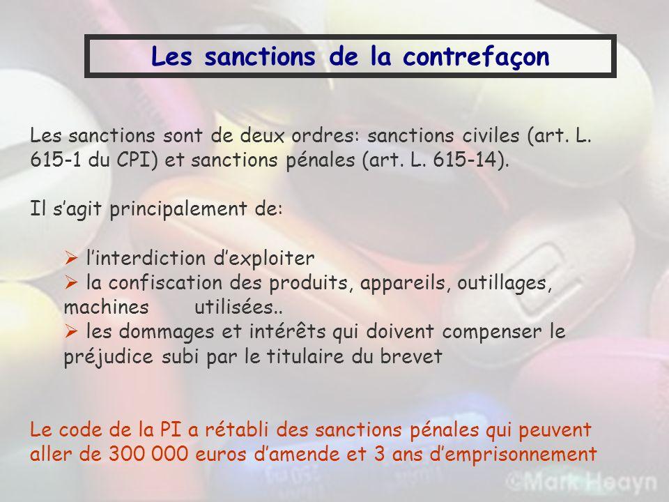Les sanctions de la contrefaçon