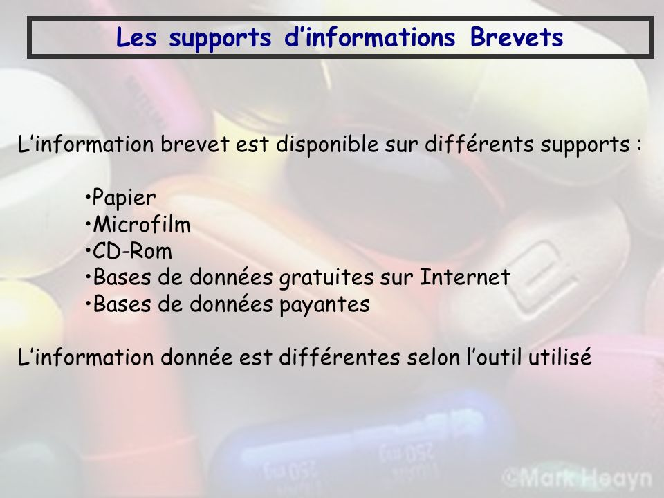 Les supports d'informations Brevets