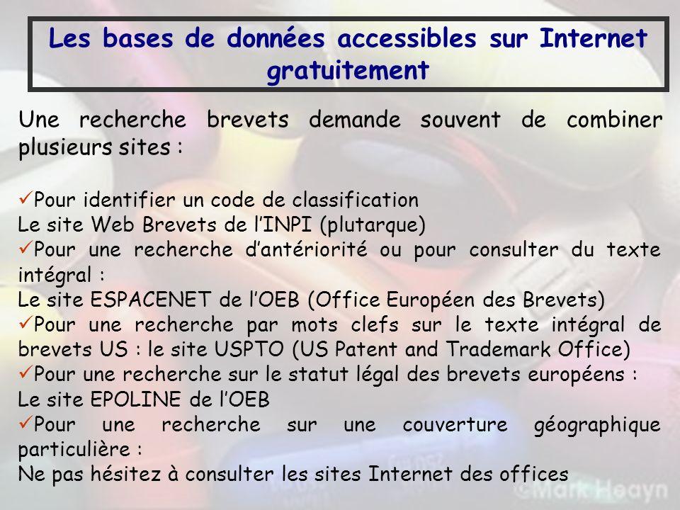 Les bases de données accessibles sur Internet gratuitement