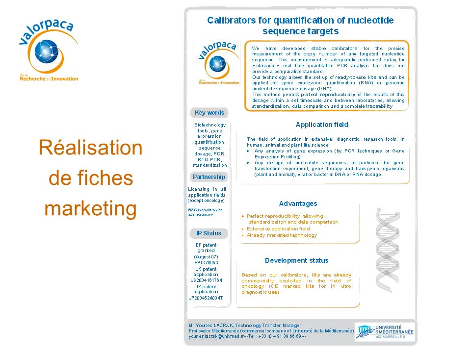 Réalisation de fiches marketing 68