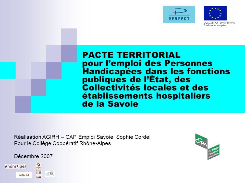 PACTE TERRITORIAL pour l'emploi des Personnes Handicapées dans les fonctions publiques de l'État, des Collectivités locales et des établissements hospitaliers de la Savoie
