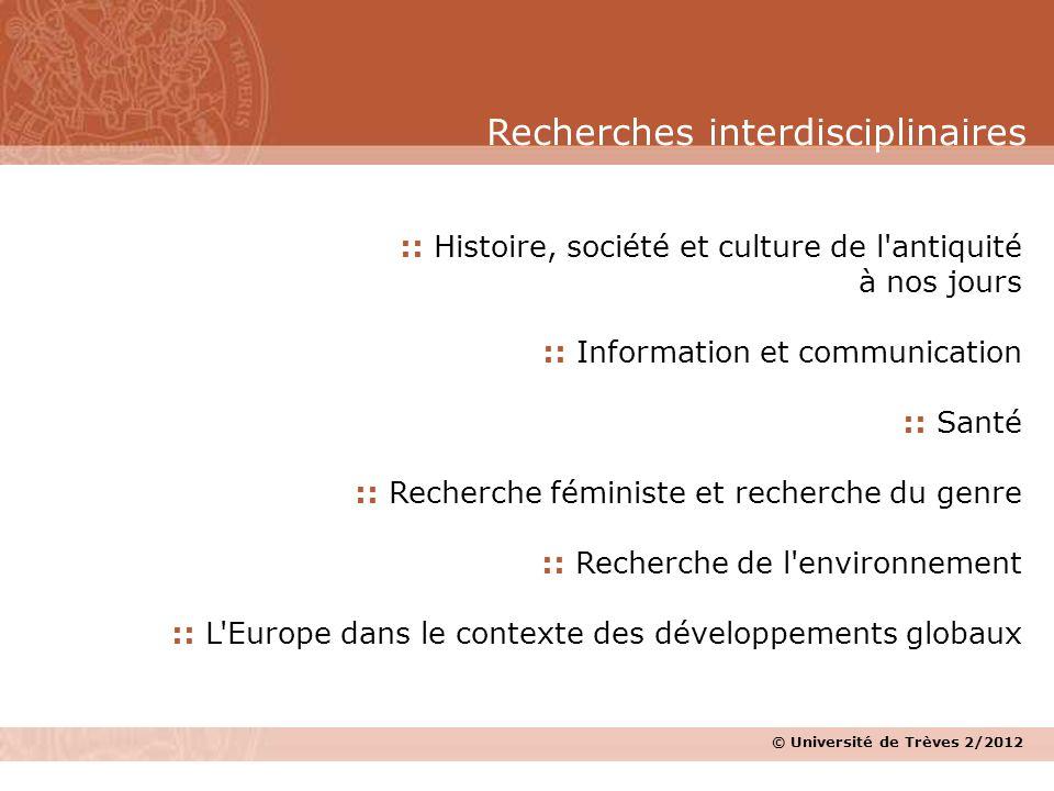 Recherches interdisciplinaires