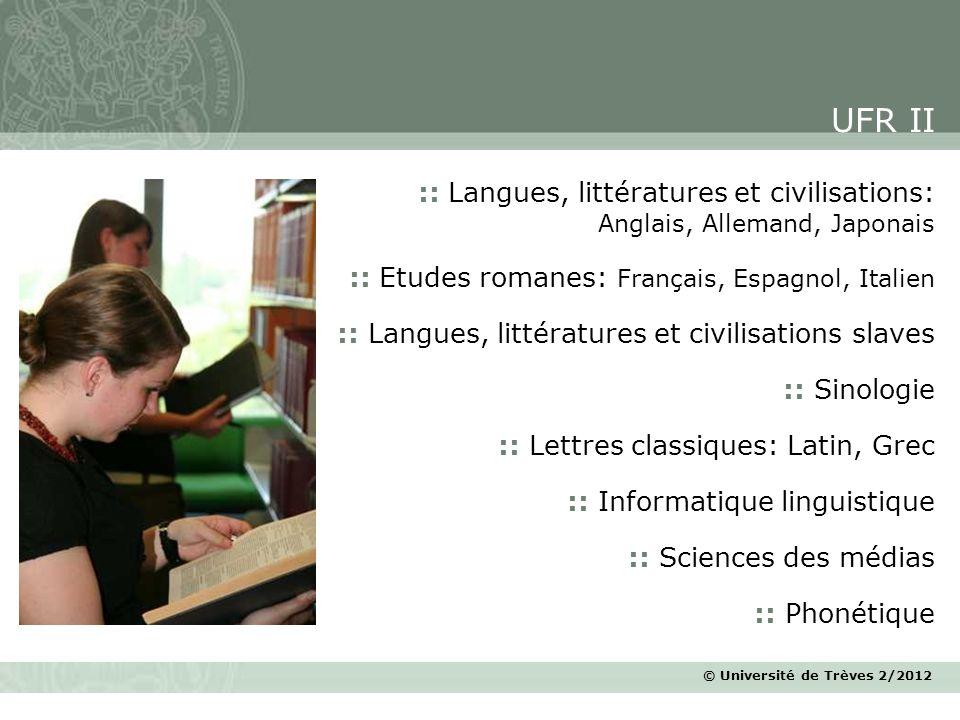 UFR II :: Langues, littératures et civilisations: Anglais, Allemand, Japonais. :: Etudes romanes: Français, Espagnol, Italien.