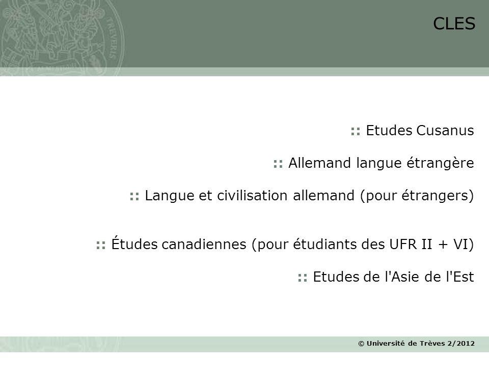 CLES :: Etudes Cusanus :: Allemand langue étrangère