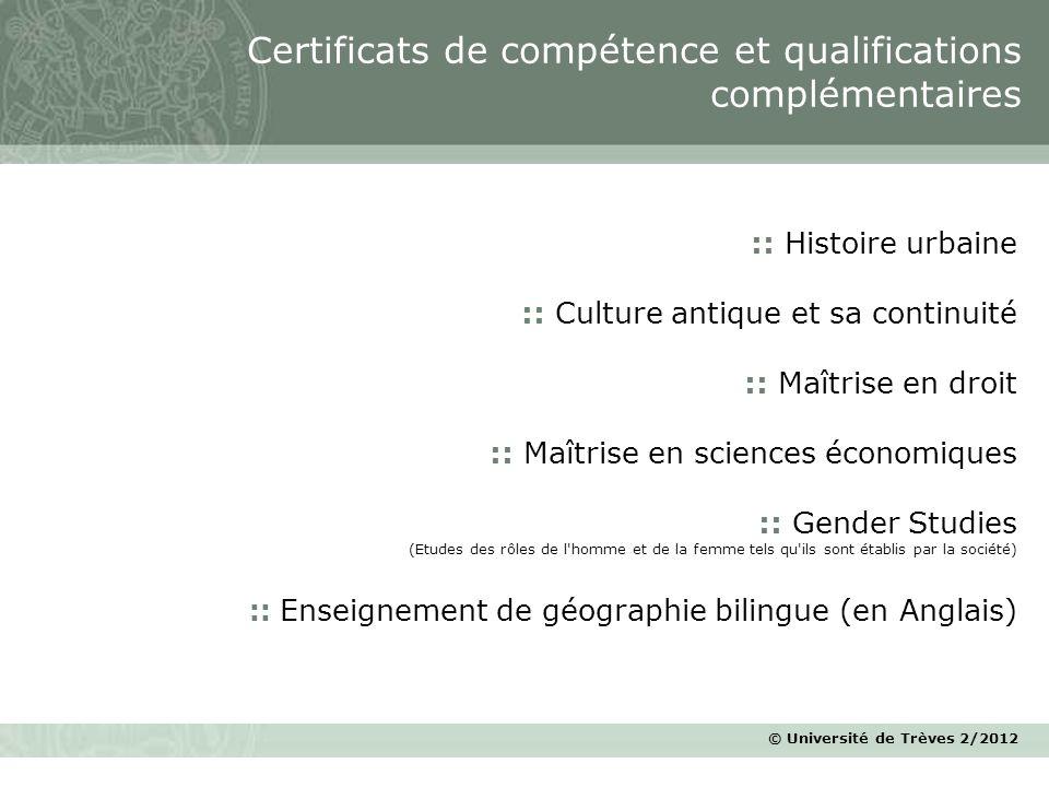 Certificats de compétence et qualifications complémentaires