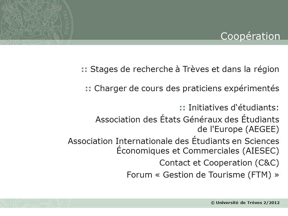 Coopération :: Stages de recherche à Trèves et dans la région