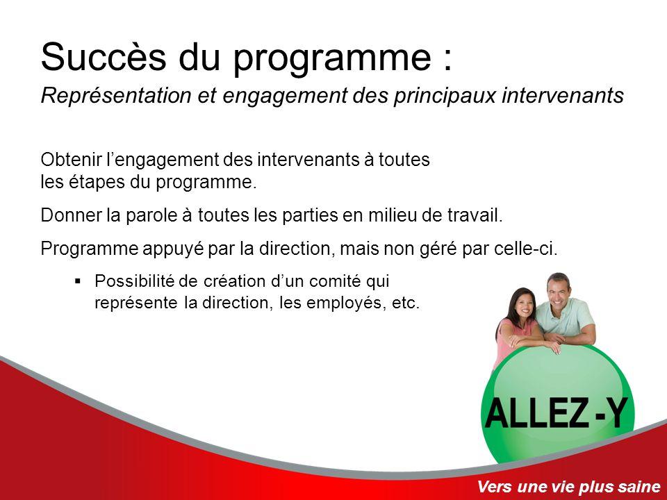 Succès du programme : Représentation et engagement des principaux intervenants