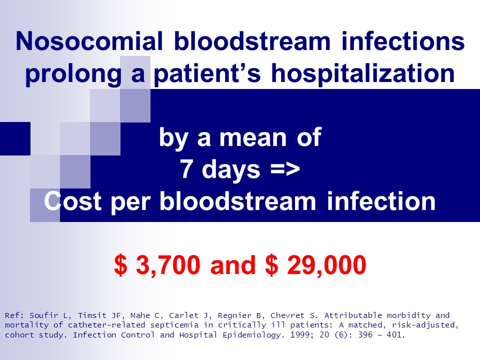 Nosocomial bloodstream infections prolong a patient's hospitalization by a mean of 7 days => Cost per bloodstream infection range $ 3,700 and $ 29,000