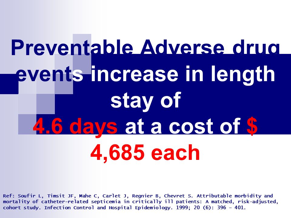 Preventable Adverse drug events increase in length stay of 4