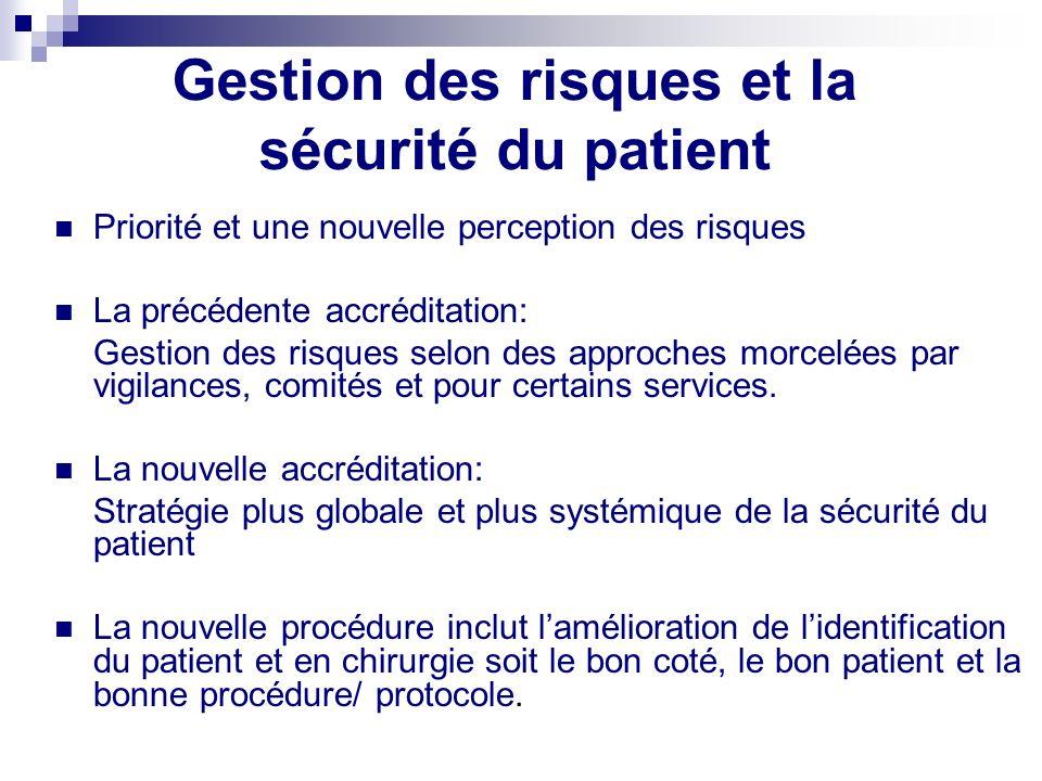 Gestion des risques et la sécurité du patient