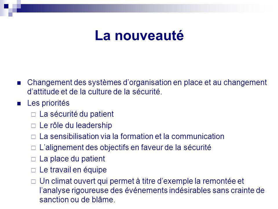 La nouveauté Changement des systèmes d'organisation en place et au changement d'attitude et de la culture de la sécurité.