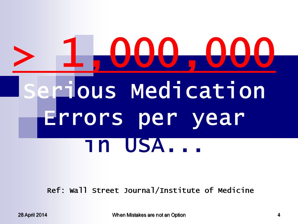> 1,000,000 Serious Medication Errors per year in USA...