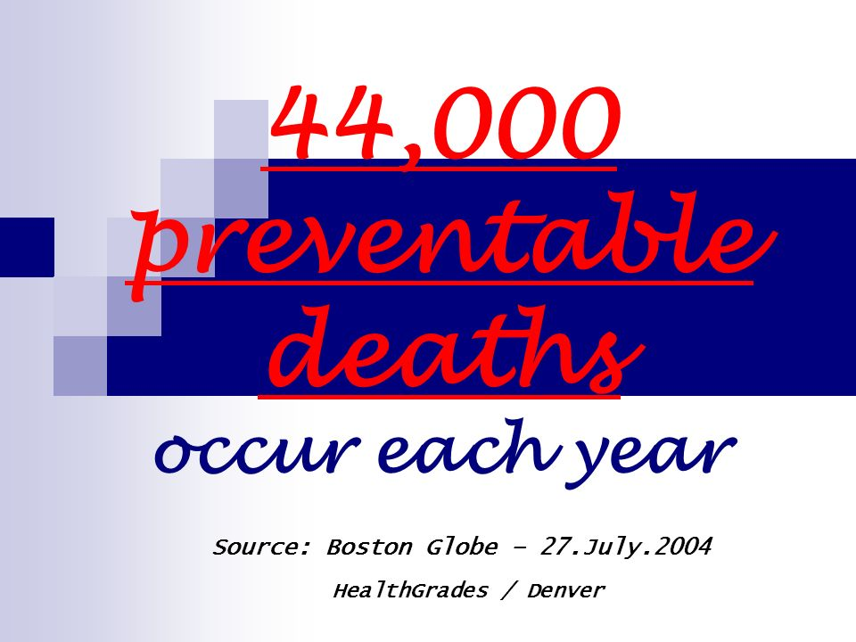 44,000 preventable deaths occur each year