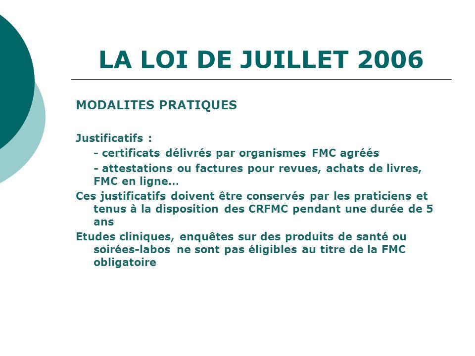 LA LOI DE JUILLET 2006 MODALITES PRATIQUES Justificatifs :