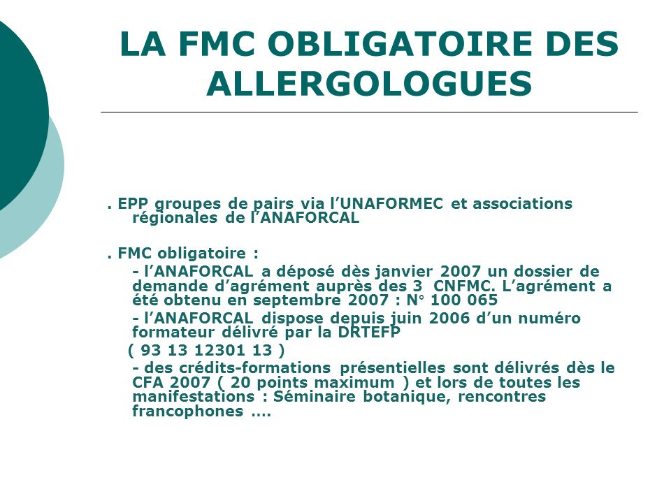 LA FMC OBLIGATOIRE DES ALLERGOLOGUES