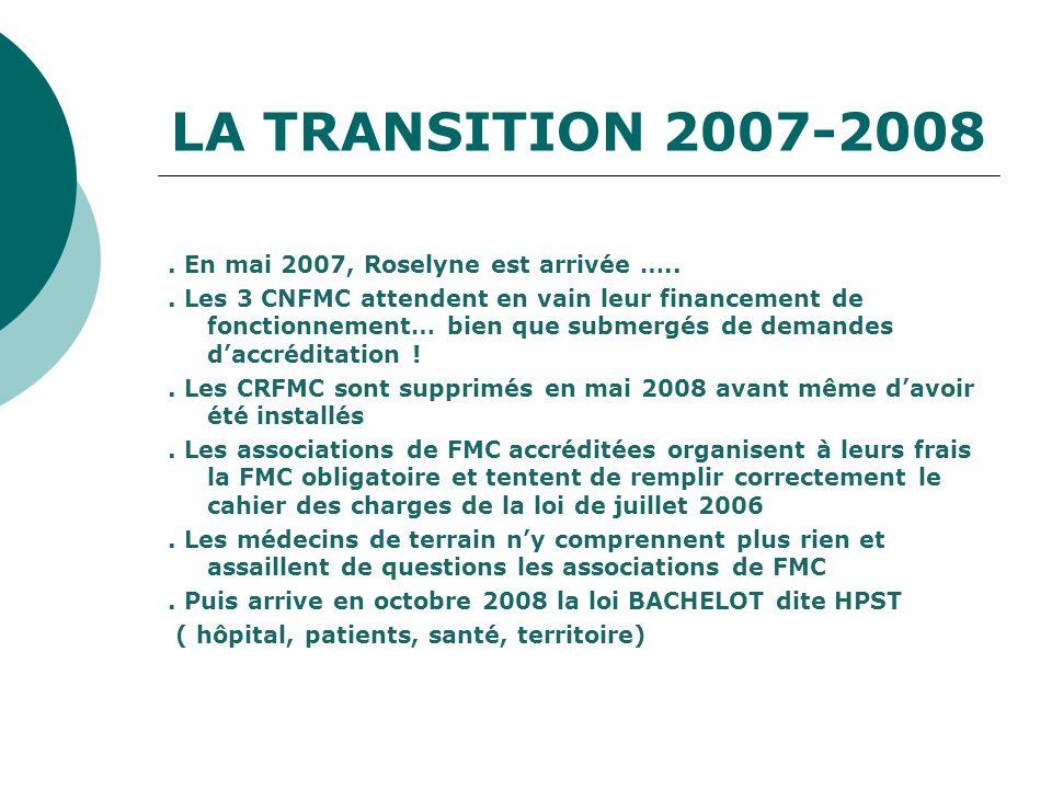 LA TRANSITION 2007-2008 . En mai 2007, Roselyne est arrivée …..
