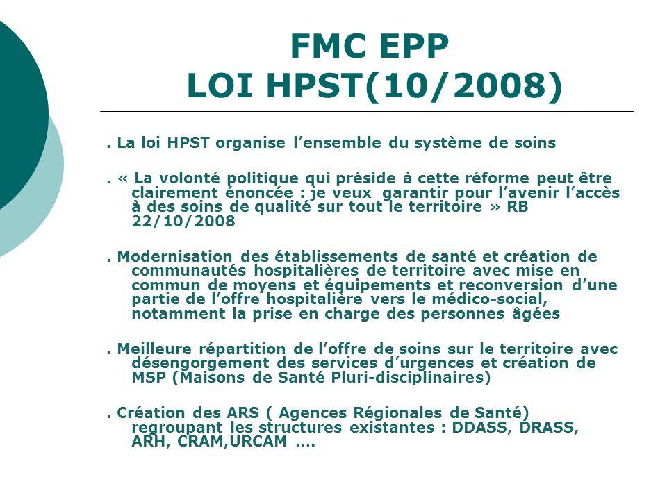 FMC EPP LOI HPST(10/2008) . La loi HPST organise l'ensemble du système de soins.