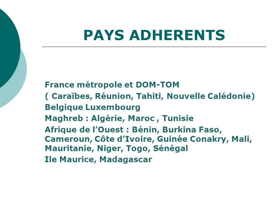 PAYS ADHERENTS