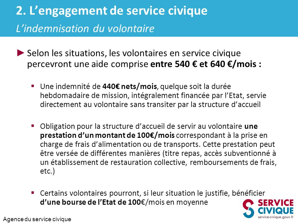 2. L'engagement de service civique L'indemnisation du volontaire