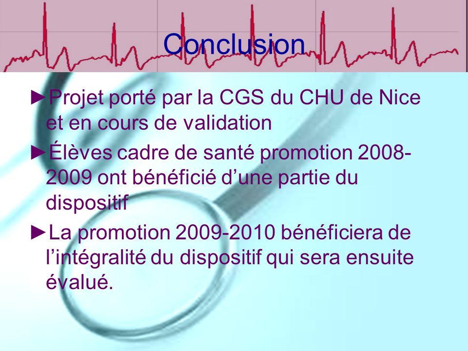 Conclusion Projet porté par la CGS du CHU de Nice et en cours de validation.