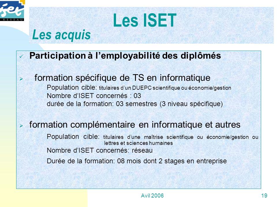 Les ISET Les acquis Participation à l'employabilité des diplômés