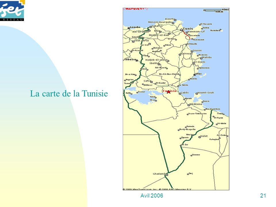 La carte de la Tunisie Avil 2006