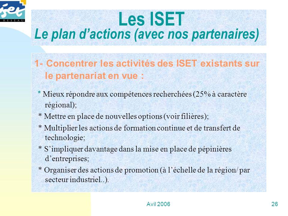 Les ISET Le plan d'actions (avec nos partenaires)