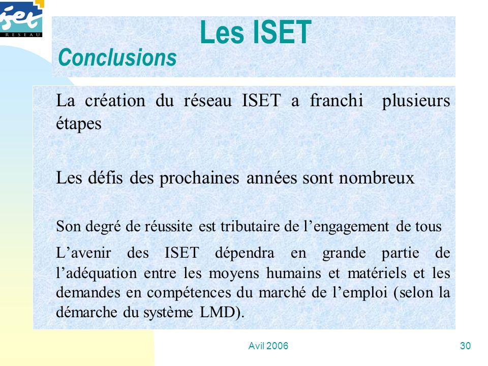 Les ISET Conclusions La création du réseau ISET a franchi plusieurs étapes. Les défis des prochaines années sont nombreux.