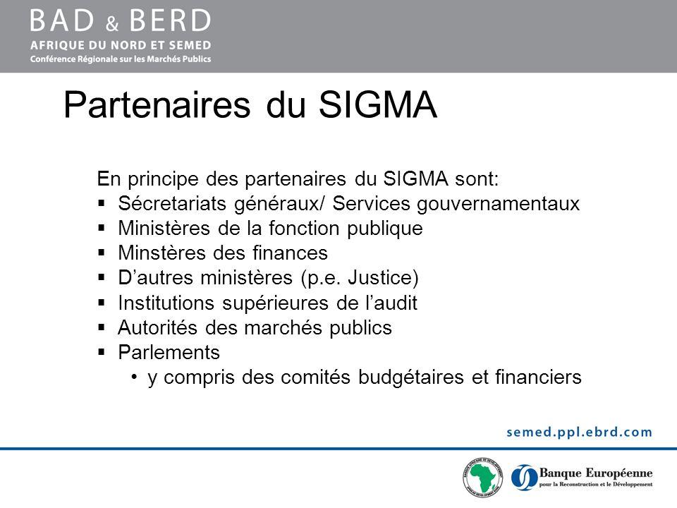 Partenaires du SIGMA En principe des partenaires du SIGMA sont: