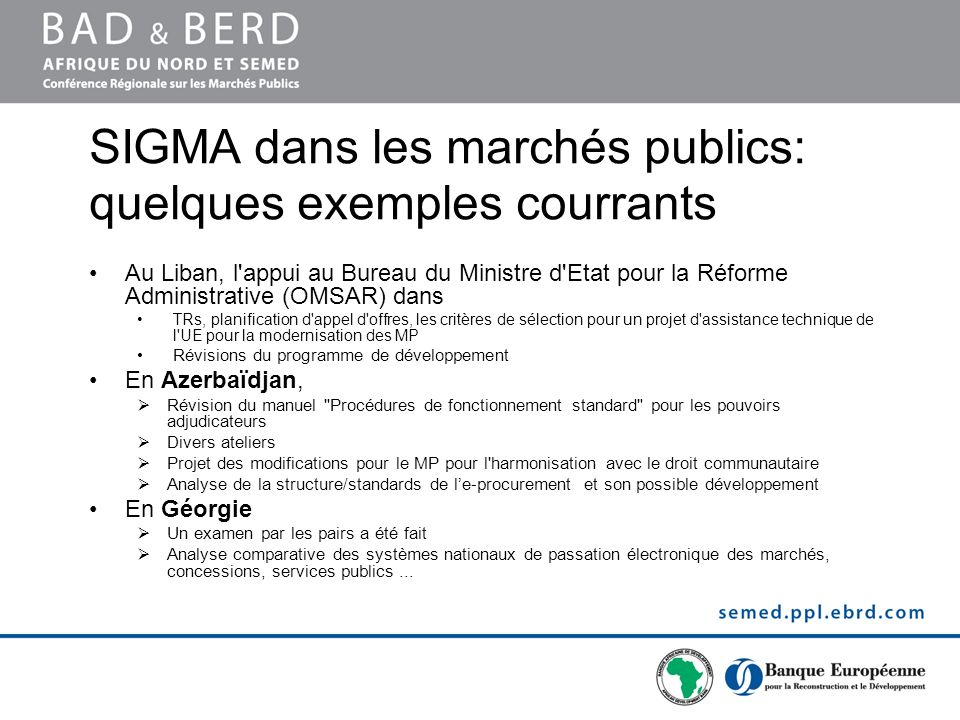 SIGMA dans les marchés publics: quelques exemples courrants