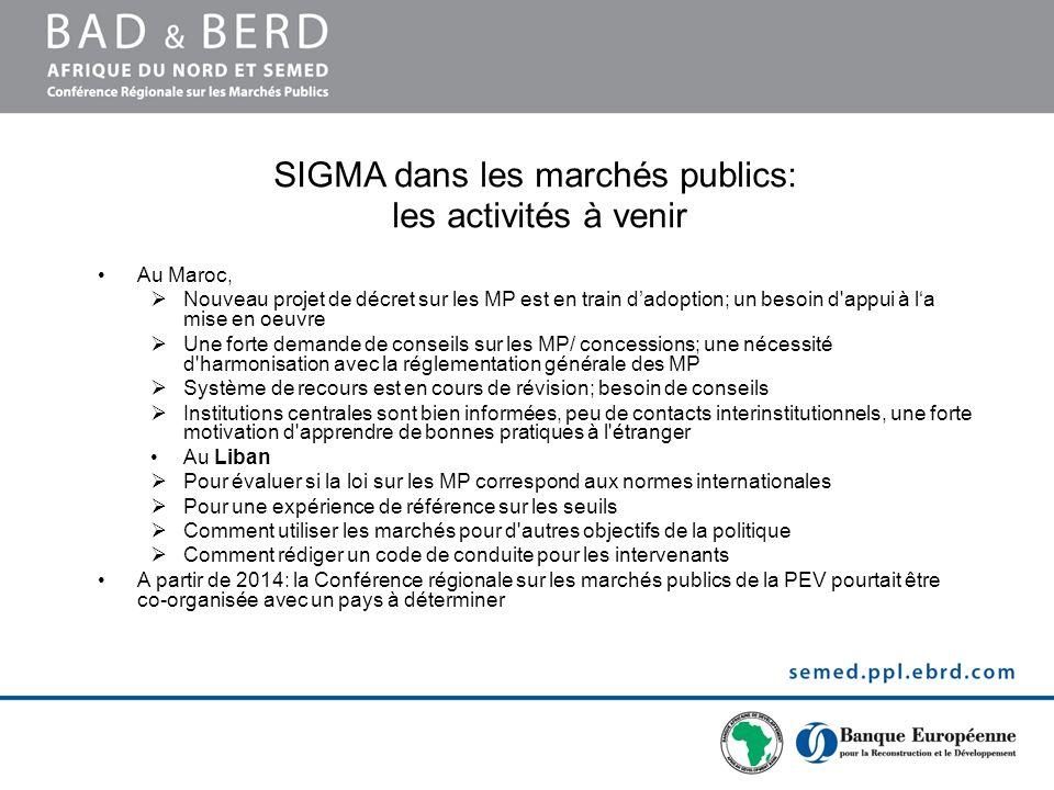 SIGMA dans les marchés publics: les activités à venir