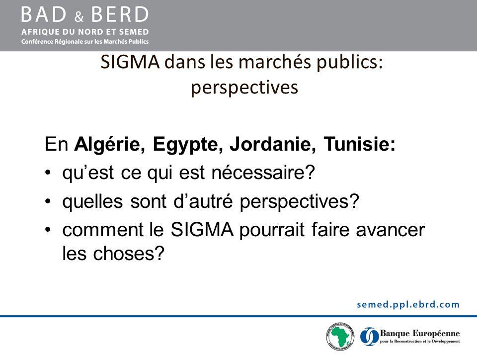 SIGMA dans les marchés publics: perspectives